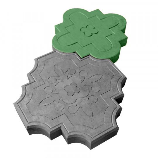 Тротуарная плитка Клевер краковский зеленая 300х300х45 мм