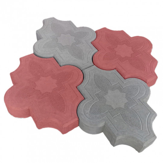 Тротуарная плитка Клевер узорный красная 267х218х40 мм