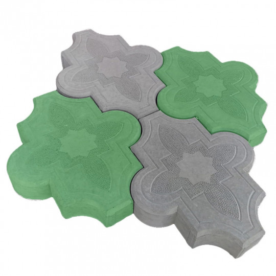 Тротуарная плитка Клевер узорный зеленая 267х218х40 мм