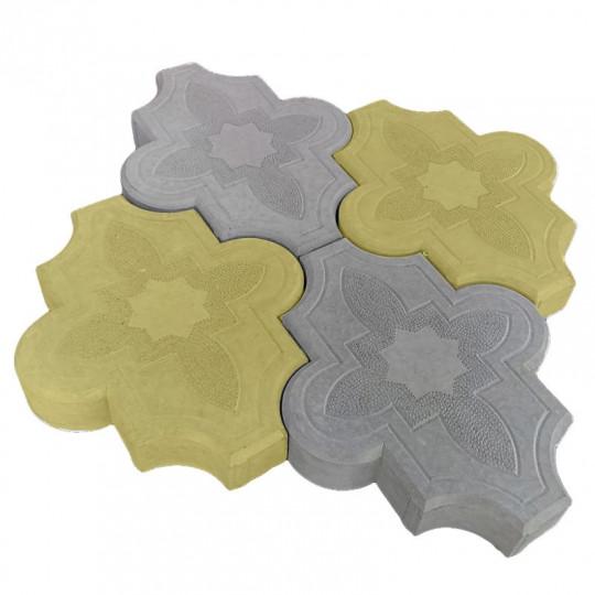 Тротуарная плитка Клевер узорный желтая 267х218х40 мм